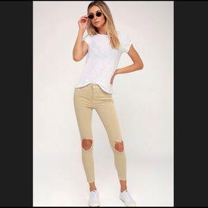 Free People High Rise Distressed Khaki Pants Tan